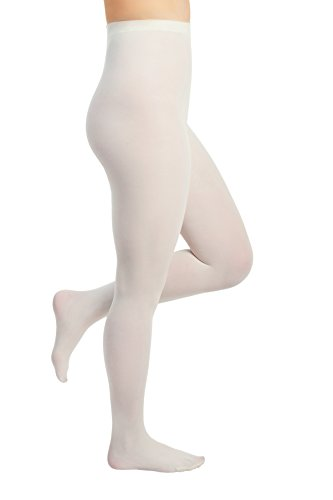 - Women's Opaque Comfort Tights (Medium (C), Ivory)