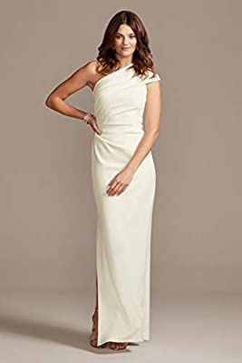 David's Bridal Ruched One-Shoulder Stretch Crepe Bridesmaid Dress Style AP2E205030