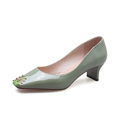 Comfort ZHZNVX Yellow Heels Spring Summer de Zapatos Negro Heel Nappa Amarillo Leather Verde Heterotypic Mujer amp; Claro SwS8qUra