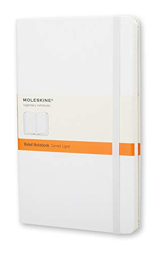 """Moleskine Classic Notebook, Hard Cover, Large (5"""" x 8.25"""") Ruled/Lined, White, 240 Pages"""