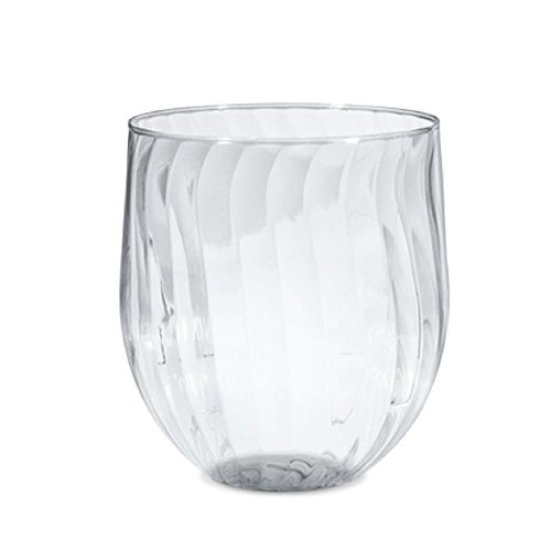 Wine Glasses Chinet Plastic Stemless Cut Crystal, 24 Count (24 Glasses Wine)