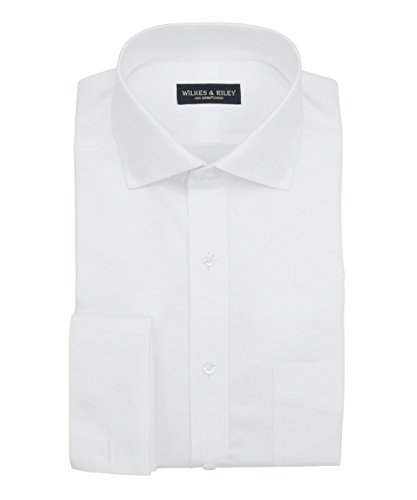 Tailored Fit Non-Iron White Royal Oxford English Spread Collar / French (Non Iron Spread Collar Oxfords)