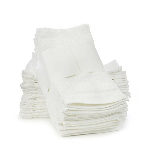 Soft Touch Linen Towels, 12 by 12-Inch, Set of 24, White
