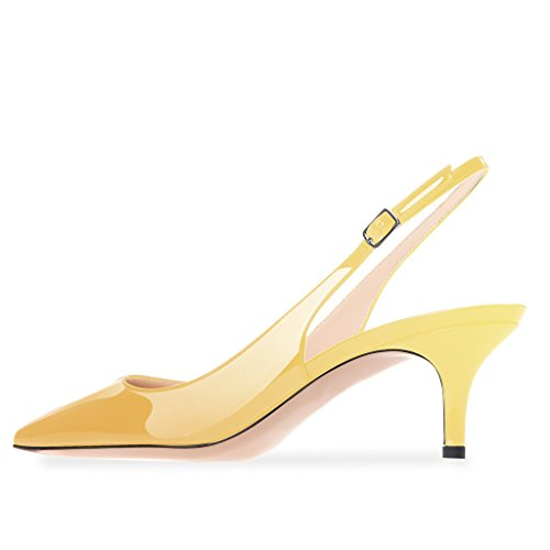 Modemoven Women's Yellow Patent Leather Pointed Toe Slingback Ankle Strap Kitten Heels Pumps Evening Stiletto Shoes - 10.5 M US by Modemoven (Image #4)