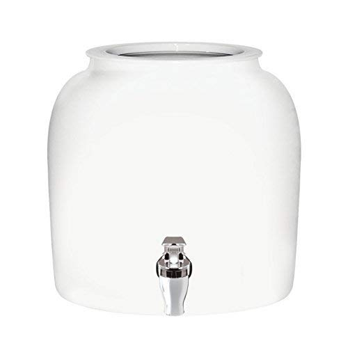 - Brio Solid Porcelain Ceramic Water Dispenser Crock with Faucet - LEAD FREE (White)