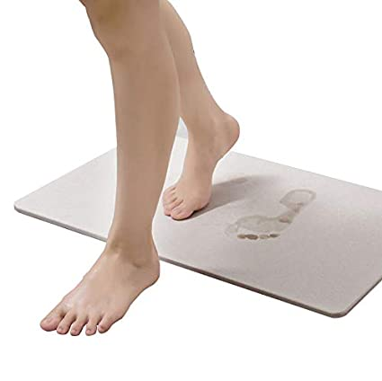 Lukzer 1 Pc Fast Drying Bath Mat (White) 60 x 40 Cm Non Slip Diatomaceous Earth Absorbent Mat