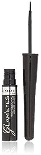 Rimmel Glam'Eyes Precise Design Liquid Eyeliner, Black Glamour [001] 0.12 oz (Pack of 3)