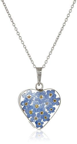 Sterling Silver Blue Pressed Flower Heart Pendant Necklace, 16