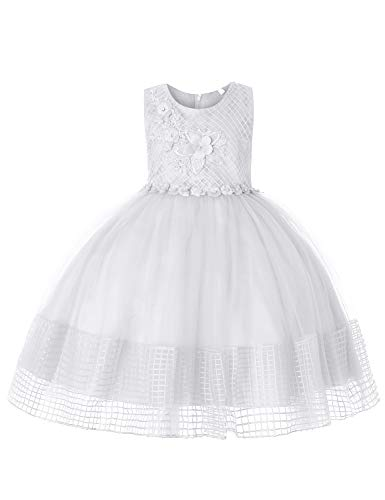 (Blevonh White Flower Girl Dress Children Tutu Dresses with Sleeveless Handmade Applique Empire Waist Soft Grid Style Crinoline Netting Gorgeous Prom Dress 130(5-6 Years))