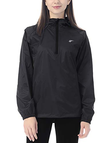 EZRUN Women's Waterproof Hooded Rain Jacket Windbreaker Lightweight Packable Raincoat Pullover Outdoor Rain Jacket for Women with Zip Pocket(Black,l)