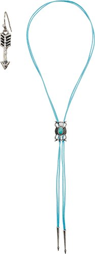 M&F Western Women's Bolo Style with Concho Necklace/Earrings Set Silver/Turquoise One Size