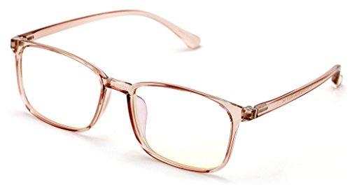 Lightweight Crystal Fashion TR90 Non-prescription Rectangular Glasses Frame Clear Lens Eyeglasses Rx'able (Rose Gold)