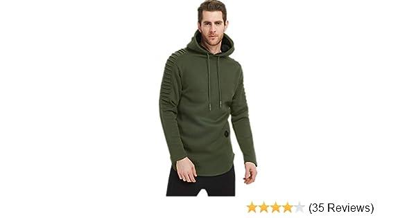 Frieed Mens Hooded Zip-Up Pleated Sport Basic Drawstring Sweatshirt Jacket
