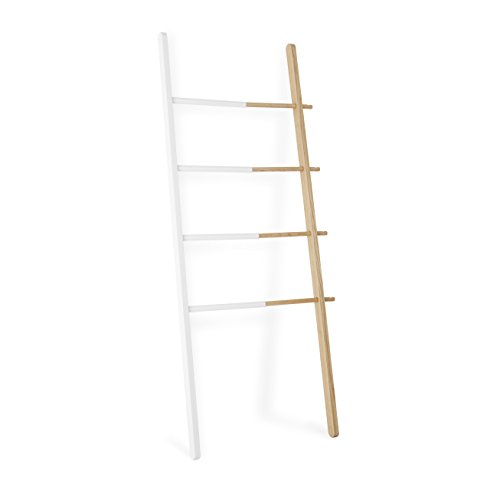 Umbra Hub Ladder Rack - Adjustable Width Freestanding Rack to hang Towels, Clothing and more in Bathroom, Bedroom or Entryway, White/Walnut