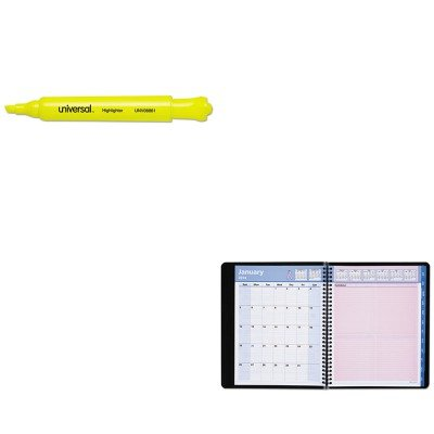 KITAAG76PN0105UNV08861 - Value Kit - At-a-Glance QuickNotes Recycled Special Edition Weekly/Monthly Appt. Book (AAG76PN0105) and Universal Desk Highlighter (UNV08861)