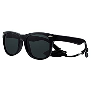Coolsome Rubber Flexible Strap Kids Polarized Sunglasses for Boys Girls Children Age 3-10 Yr (Black)