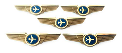 Kids Airline Pilot Wings Plastic Pins Pinbacks Badges Lot of 5 Pins