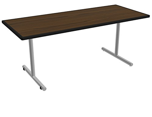 Nomad by Palmer Hamilton ATTGO293072-MWMSSM Fixed Leg Standard Weight Aero GO T-Base Table with Built in Casters, Metallic Silver Frame, Black Smart Edge, 72