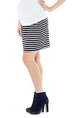Lilac Pencil Maternity Skirt - Striped - Black/White - Large