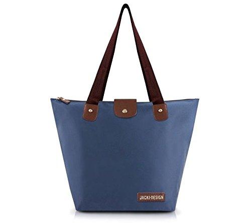 Bolsa De Colo Shopper Dobrável Prática Lisa Média Microfibra Jacki Design Azul Escuro