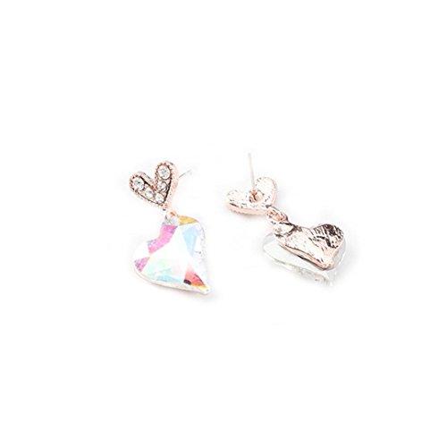 Stud Earrings,Caopixx Women Zircon Earrings Crystals Encrusted Love Heart Earrings for Girls 2018 (Multicolor, alloy)