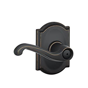Schlage F40 FLA 716 CAM Camelot Collection Flair Privacy Lever, Aged Bronze