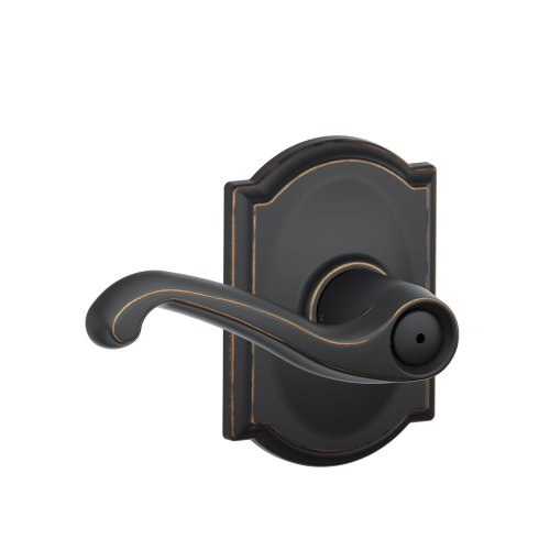 Schlage F40 FLA 716 CAM Camelot Collection Flair Privacy Lever, Aged Bronze ()