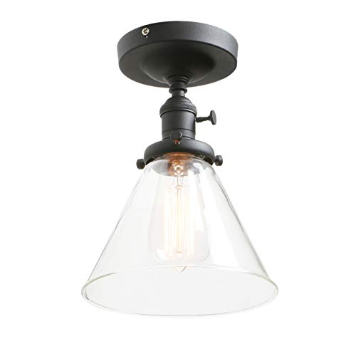 Phansthy Flush Mount Ceiling Light Matte Black Finished Mini Chandelier Pendant Light with 7.3 Inches Clear Glass ()