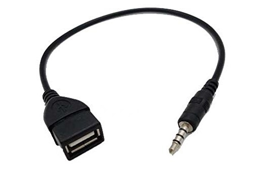Coomoors USB Female to AUX 3.5mm Male Jack Plug Audio Data Charge Cable(Black)