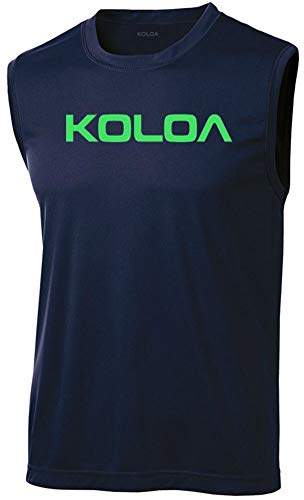 Koloa Original Logo Moisture Wicking Sleeveless T-Shirt-Navy/green-2XL