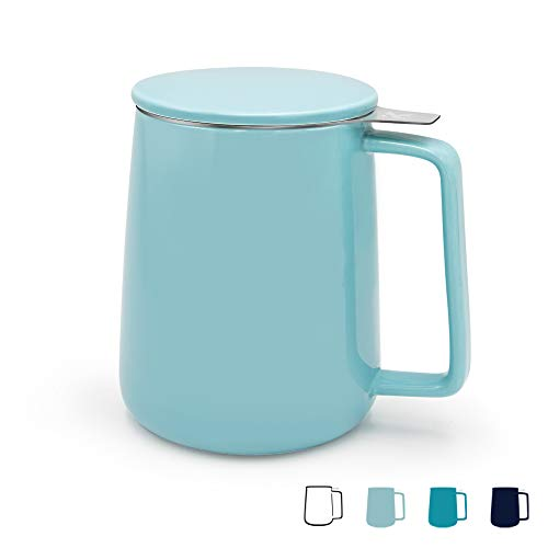 KitchenTour Porcelain Tea Mug with Infuser and Lid - Large Capacity Mug with Infuser Basket - 20oz, Turquoise