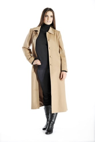 Women's Full Length Overcoat in Pure Cashmere (Camel, 12)
