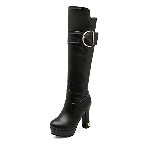 Closed Boots Heels Pull Material Toe AgooLar High Soft on Round Black top High Women's xvxwqB7Z