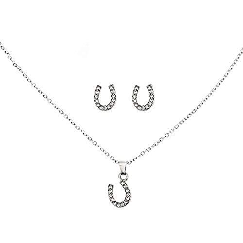 Lova Jewelry Sparkly Horseshoe Clear Gems Silver Tone Necklace Earrings Set