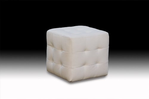 Diamond Sofa Zen Collection Bonded Leather Tufted Cube Accent Ottoman, (Bonded Leather Cube)
