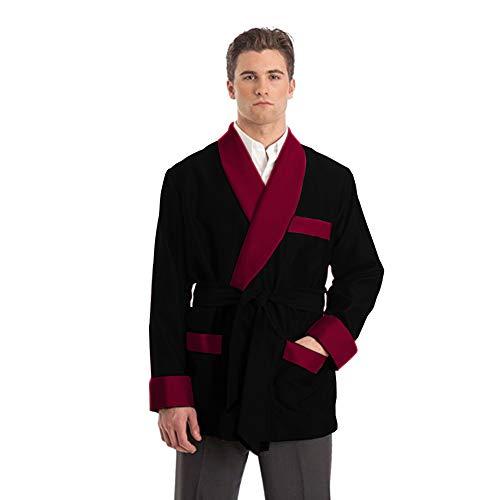 (Duke & Digham Men's Satin Smoking Jacket (Large, Black Burgundy Collar))