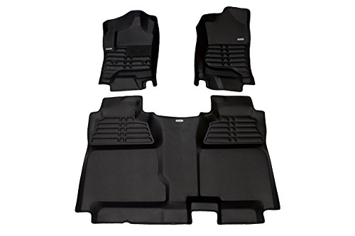 TuxMat Custom Car Floor Mats for GMC Sierra 3500HD Crew Cab 2014-2019 Models - Laser Measured, Largest Coverage, Waterproof, All Weather. The Best GMC Sierra 3500HD Accessory. (Full Set - Black)