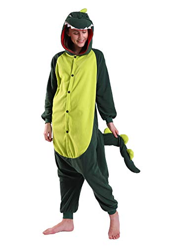 Adult Dinosaur Onesie Animal Cute Cosplay Costume Pajamas Unisex Halloween Xmas Costume for Women Men Green]()