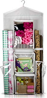 Carriebax Hanging Double Sided Wrapping Paper Storage Organizer With Large Pockets And Sleek Design - Easily Fits 40 inch Gift Wrap Rolls While Protecting And Storing Your Expensive Gift Wrap