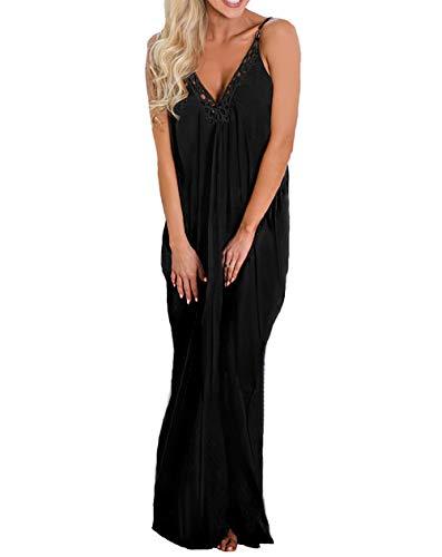 THANTH Womens Dresses Spaghetti Strap Deep V Neck Loose Long Maxi Dress with Pockets Black S