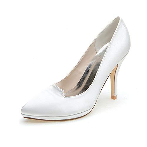 Femmes chaussures Pointu 09a Talons Hauts De Flower Satin Plateforme 0255 Mariée court Bout En White Mariage Bal ager ZqX4wt