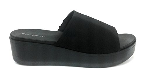 Bamboo Womens Slinky Platform Sandal Thick Heel Stretch Fabric Slide On Open Toe Very Comfortable Black Molly-1(22298) vtjDC9