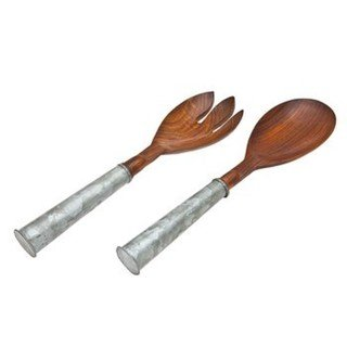 Wood Salad Set Galvenized Hand
