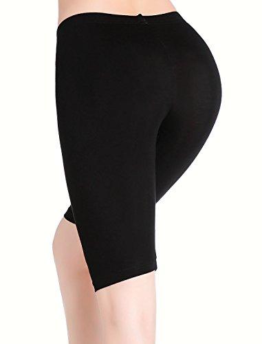 CnlanRow Womens Under Skirt Pants Soft Ultra Stretch Knee Length Leggings Fitness Sport Shorts Dark Gray