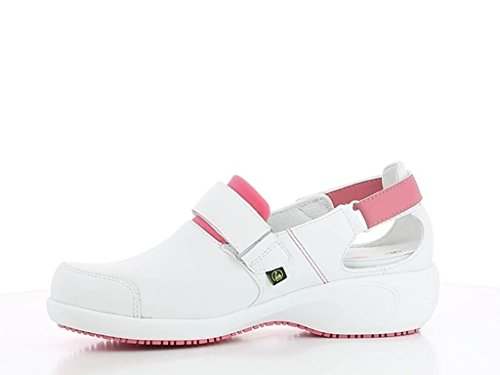 ultraconfortable Travail Salma Blanc Blanche Chaussures et Rose de wIScYq7