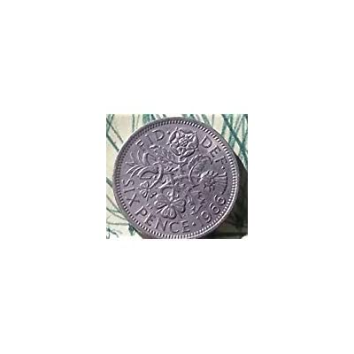 """1966 ENGLISH SIXPENCE -- LUCKY WEDDING COIN -- """"WITH A SIXPENCE IN HER SHOE"""": Toys & Games"""