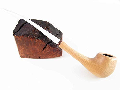Pear Wood Churchwarden Handcrafted Tobacco Smoking Pipe Long Lady Pipe FASHION LIGHT WHITE STEM (Wood Light Tobacco Pipe)