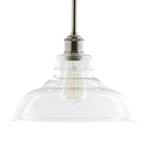 Lucera Contemporary Kitchen Pendant Light - Brushed Nickel Hanging Fixture - Linea di Liara LL-P431-BN (Nickel Pendant)