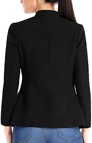 Utyful Women's Open Front Long Sleeve Buttons Work Office Blazer Casual Business Jacket Suit with Pockets