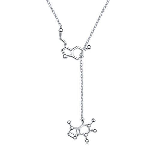DAOSHANG Silver Molecule Serotonin and Caffeine Molecule Necklace for Science Lover and Coffee Lover by DAOSHANG
